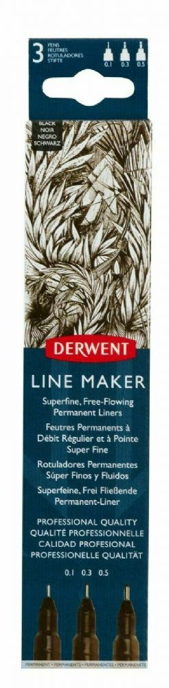 Derwent Line Maker Fine Line Drawing Pens Black Colour Ink Set of 3